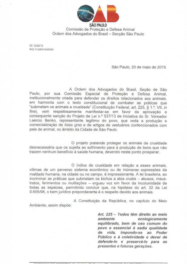Digitalização do parecer assinado pela Comissão de Proteção e Defesa Animal da OAB-SP (Divulgação/SVB)