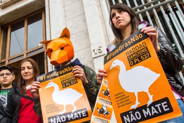 Grupos pressionam prefeito Haddad pela sanção da lei que proibiria a venda do foie gras (Dário Oliveira/Codigo19/Folhapress)