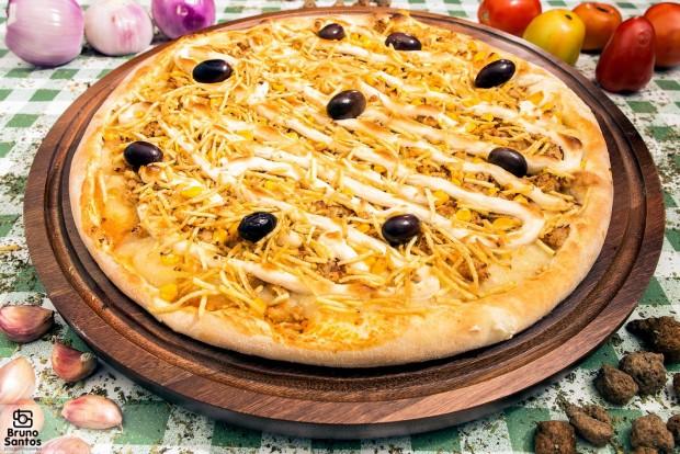 """Pizza de """"frango com catupiry"""" vegana da American Pizzas Vegan (Divulgação)"""