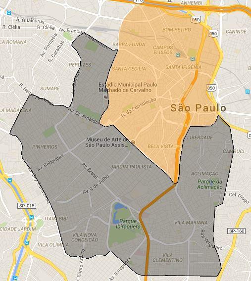 Área laranja: entrega por R$ 6; área cinza: entrega por R$ 9