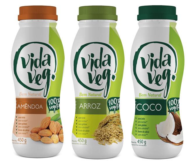 Iogurtes veganos de amêndoas, arroz e coco, da empresa mineira VidaVeg